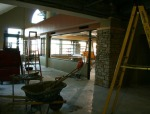Looking north on 4th floor, through the new library instruction classroom/computer lab.