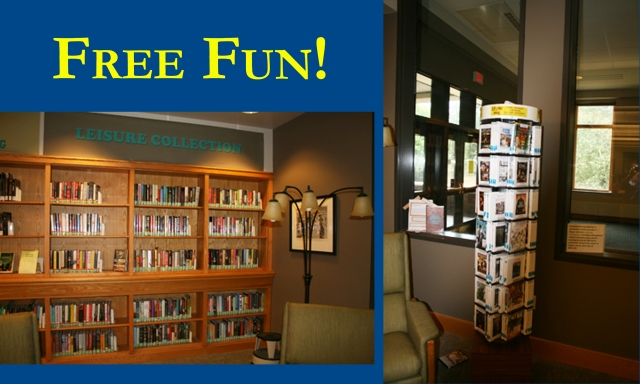 Fun books and DVDs are available for check out on the 2nd floor of the library.