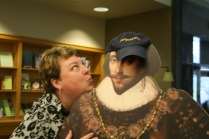 Librarian Christine is kissing up to the Bard.