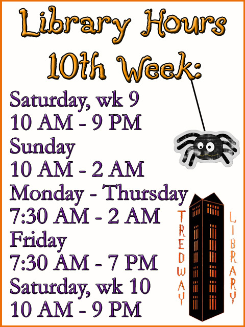 10th Week Library Hours F2014