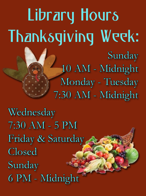 Thanksgiving week hours 201415