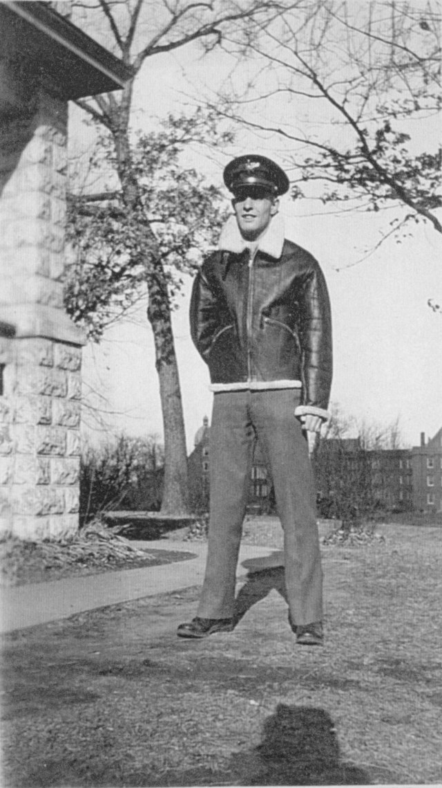 C-F05370-2, Glenn WIlliam (Bill) Lankton poses in his Air Cadet uniform at Augustana College. Augustana College Photograph Collection