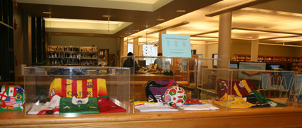 International soccer jerseys are on display on the 2nd floor of the library.
