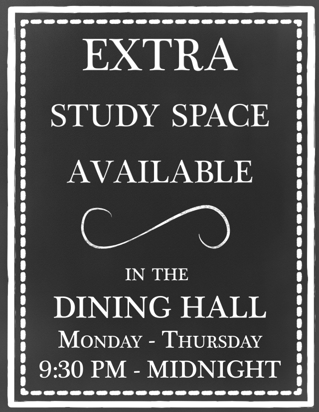 Extra Study Space Dining Hall