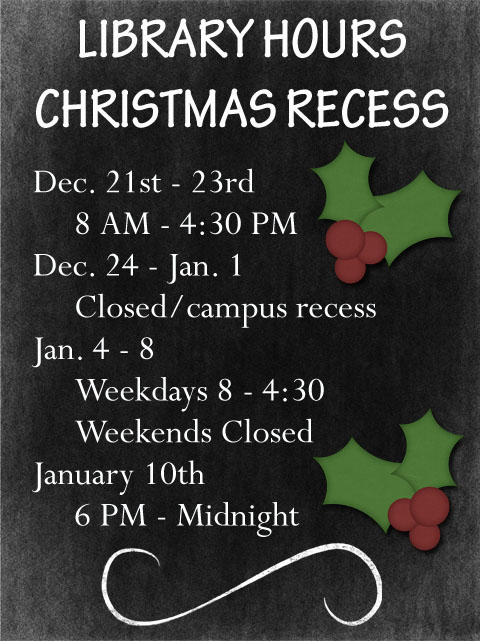 Christmas break hours 2015-16