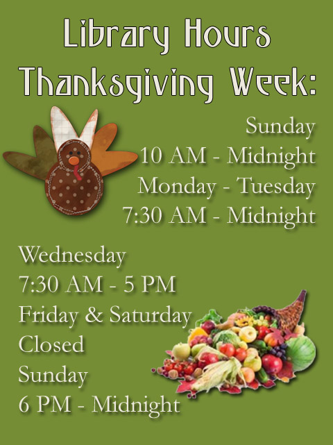 Thanksgiving week hours 201516